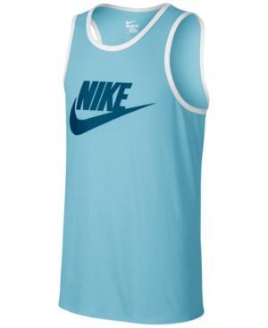 Nike Men's Ace Logo Graphic Tank In Still Blue