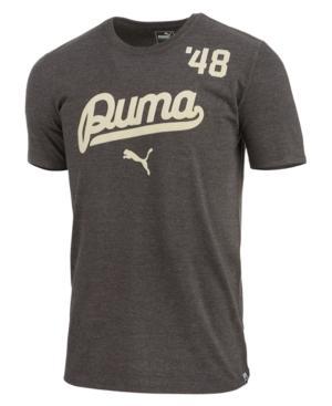 Puma Men's Script Logo T-shirt In Grey