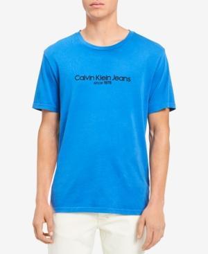 Calvin Klein Jeans Est.1978 Men's Old School Logo-print T-shirt In Strong Blue