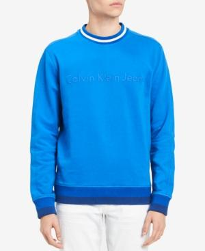 Calvin Klein Jeans Est.1978 Men's Striped-trim Sweatshirt In Black