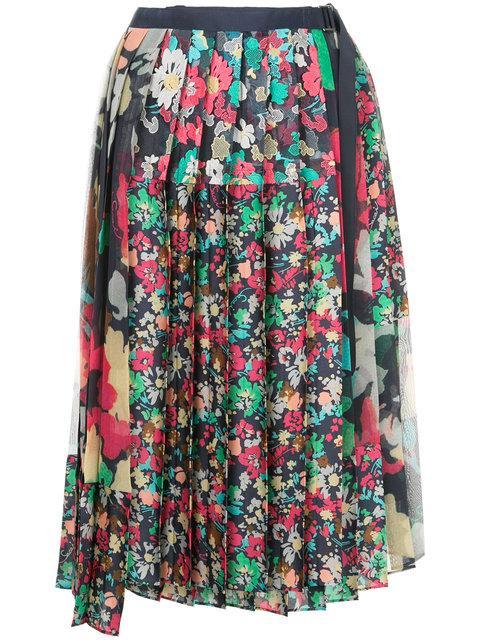 2822d696aa Sacai Floral Pleated Midi Skirt - Multicolour   ModeSens