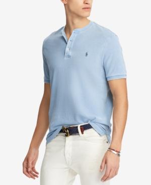 Polo Ralph Lauren Men's Big & Tall Featherweight Mesh Henley Shirt In Light Indigo