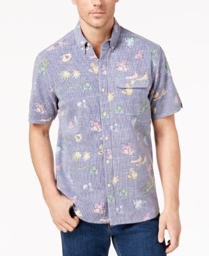 Tommy Bahama Men's Palm-versational Striped Shirt In Kingdom Blue
