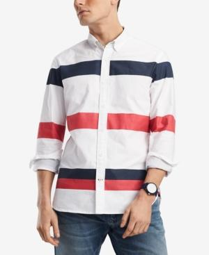 Tommy Hilfiger Men's Blaine Custom-fit Stripe Oxford Shirt, Created For Macy's In Bright White