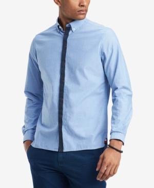 Tommy Hilfiger Men's Saxon Custom-fit Hidden-placket Oxford Shirt, Created For Macy's In Regatta