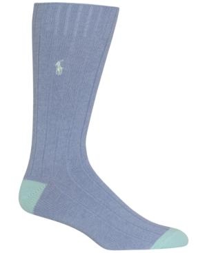 Polo Ralph Lauren Men's Ribbed Embroidered Socks In Blue