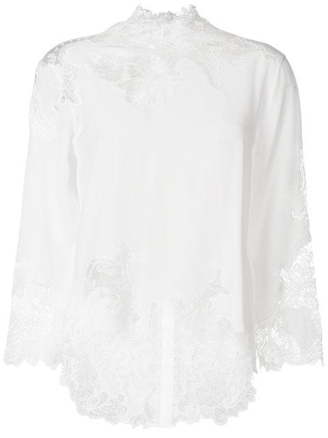 Ermanno Scervino Silk Blouse With Lace Details In White