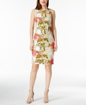 Calvin Klein Embroidered Mesh Dress, Regular & Petite Sizes In Nocolor