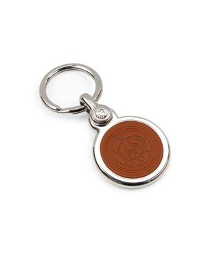 Dunhill Stainless Steel And Cowhide Leather Key Fob In Tan
