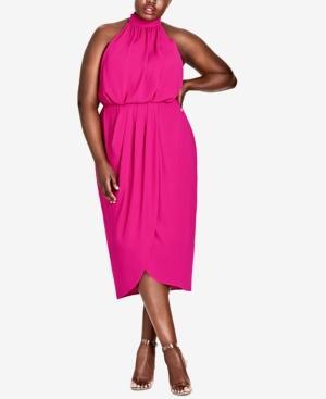 City Chic Trendy Plus Size Halter Midi Dress In Shock Pink