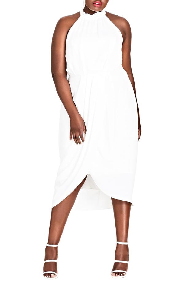 City Chic Romance Blouson Halter Dress In Ivory