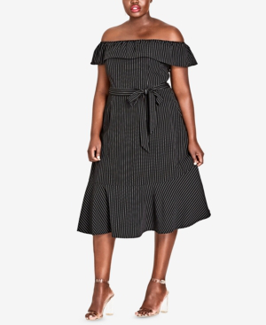 City Chic Midi Madame Stripe Off The Shoulder Dress In Black