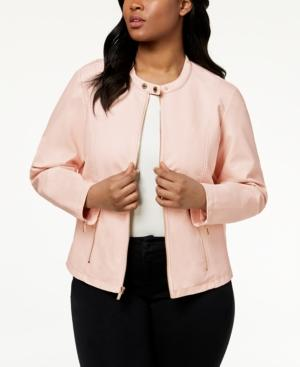Calvin Klein Plus Size Zipper-detail Faux-leather Jacket In Blush