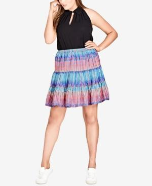 City Chic Trendy Plus Size Tiered A-line Skirt In Kaleidoscope
