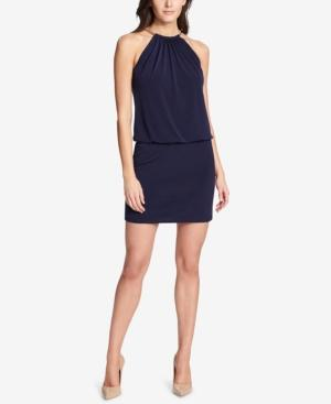 Guess Halter Necklace Blouson Dress In Navy