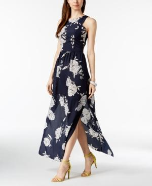 Vince Camuto Floral-print Maxi Dress In Navy Multi