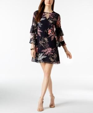 Vince Camuto Printed Ruffle Tiered-sleeve Dress In Navy Multi