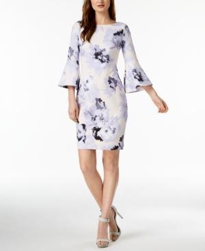 Calvin Klein Printed Bell-sleeve Dress In Opal Multi