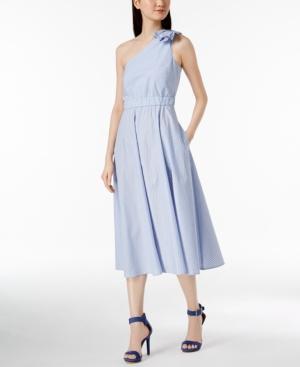 Calvin Klein Cotton Striped One-shoulder Midi Dress In Chambray