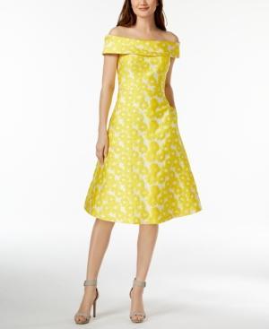 Calvin Klein Off-the-shoulder Sunflower Brocade Dress In Canary Multi