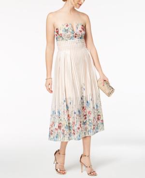 Foxiedox Strapless Floral-print Midi Dress In Meadow Mutli