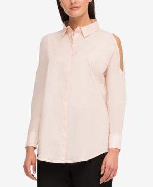 Dkny Cotton Cold-shoulder Shirt, Created For Macy's In Blush