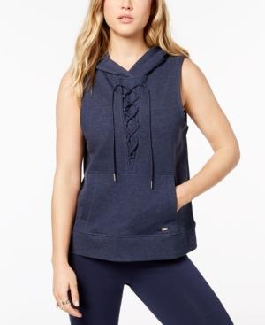 Tommy Hilfiger Sport Lace-up Hoodie, Created For Macy's In Midnight Heahter