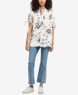 Dkny Ruched-sleeve Shirt, Created For Macy's In Ivory Print