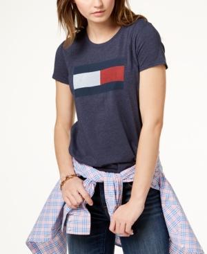 Tommy Hilfiger Crew-neck Graphic T-shirt In Midnight Heather