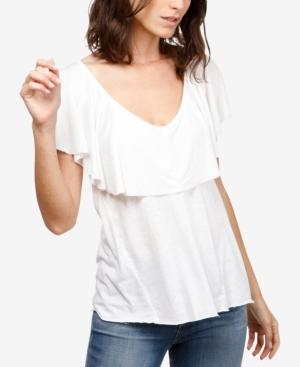 Lucky Brand Ruffled T-shirt In Lucky White