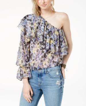 Lucky Brand One-shoulder Tiered Flounce Top In Blue Multi