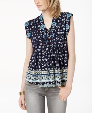 Lucky Brand Printed Lace-up Top In Navy Multi