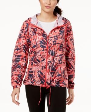 Columbia Flash Forward Omni-shield Hooded Windbreaker In Red Camellia Palm Print