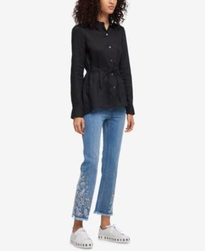 Dkny Linen Button-up Jacket, Created For Macy's In Black