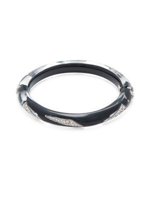 Alexis Bittar Crystal-encrusted Lucite Bangle Bracelet In Black