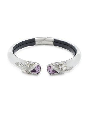 Alexis Bittar Crystal & Lucite Bangle Bracelet In Silver