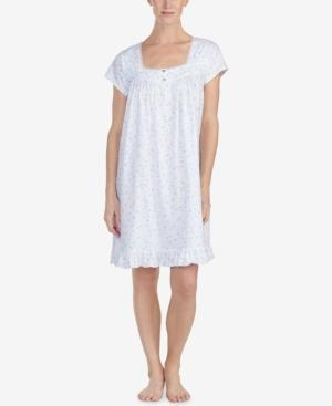 Eileen West Lace-trim Cotton Knit Nightgown In Aqua Pink