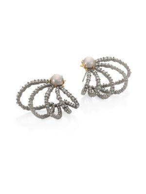 Alexis Bittar Crystal & Faux-pearl Orbiting Stud Earrings In Silver