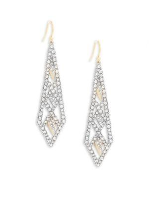 Alexis Bittar Elements Swarovski Crystal Encrusted & 10k Gold-plated Drop Earrings In Silver