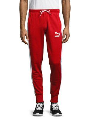 Puma Solid Cotton-blend Pants In Red