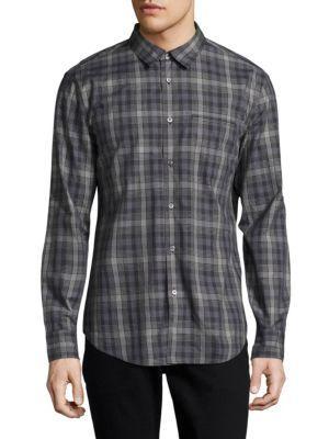 John Varvatos Plaid Slim-fit Casual Button-down Shirt In Dark Grey