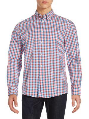 Ben Sherman Classic Fit Checked Woven Button-down Shirt In Coral Red