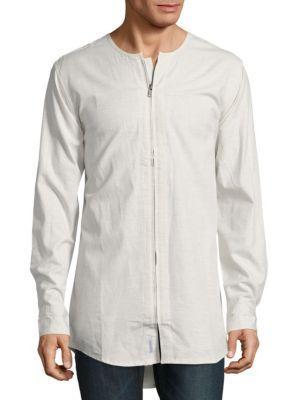 Publish Zip-front Cotton Shirt In Ash Heather