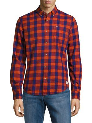 Scotch & Soda Button-down Cotton Check Shirt In Red Combo
