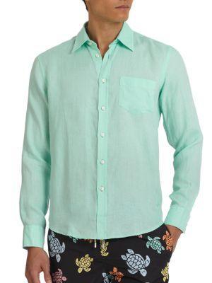Vilebrequin Linen Sportshirt In Light Green