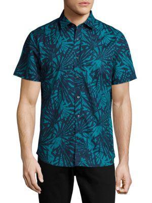 Slate & Stone Point Collar Cotton Shirt In Navy Aqua