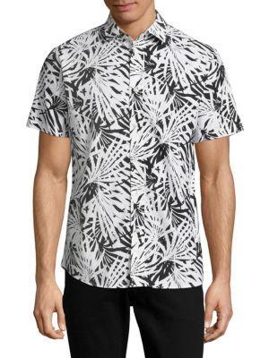 Slate & Stone Point Collar Cotton Shirt In Black White
