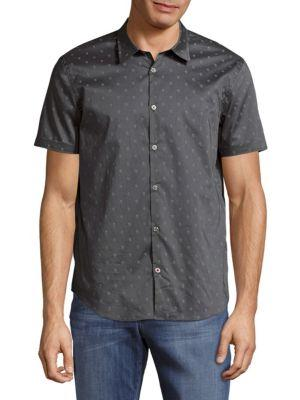 John Varvatos Printed Casual Button-down Cotton Shirt In Carbon Grey