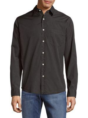 Faherty Garment Dyed Cotton Casual Button-down Shirt In Charcoal