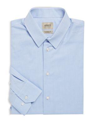 Armani Collezioni Modern Fit Textured Cotton Dress Shirt In Frost Blue